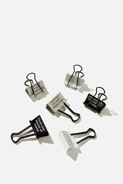 Bulldog Clip Pk 6, BLACK QUOTE!