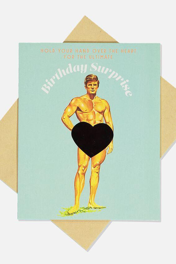 Premium Funny Birthday Card, HEAT SENSITIVE HUNK