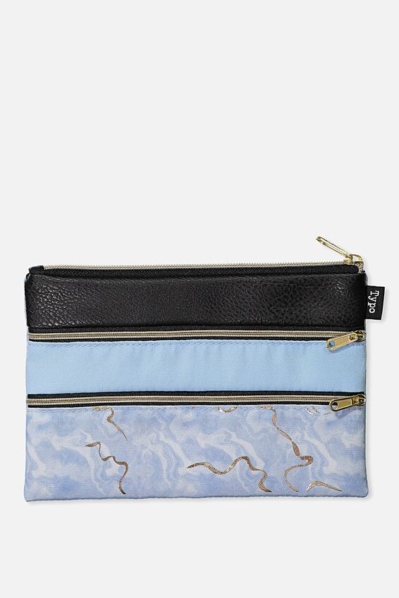 Double Archer Pencil Case, CORNFLOWER AGATE BLACK