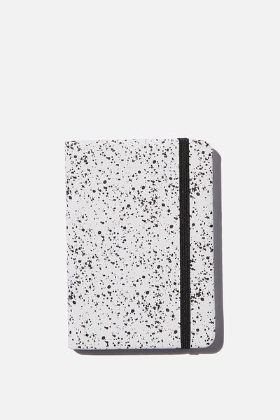 A6 Buffalo Dot Journal, WHITE SPLATTER