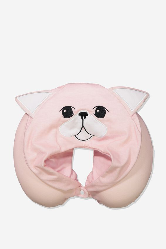 Travel Neck Pillow with Hood, BLUSH CAT