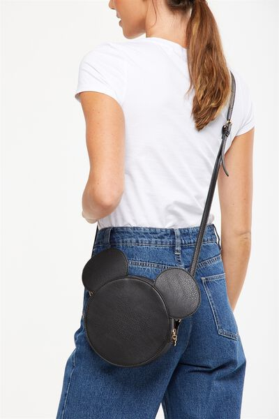 Round Cross Body Bag, LCN BLACK MICKEY EARS