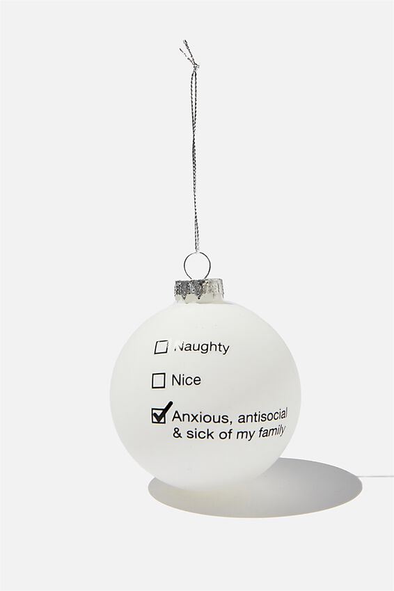 Small Glass Christmas Ornament, BAUBLE NAUGHTY NICE ANXIOUS