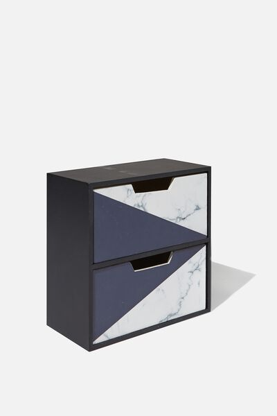 2 Drawer Stand & Store, BLACK & WHITE MARBLE