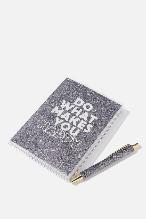 Mini Notebook & Pen Set, GLITTER