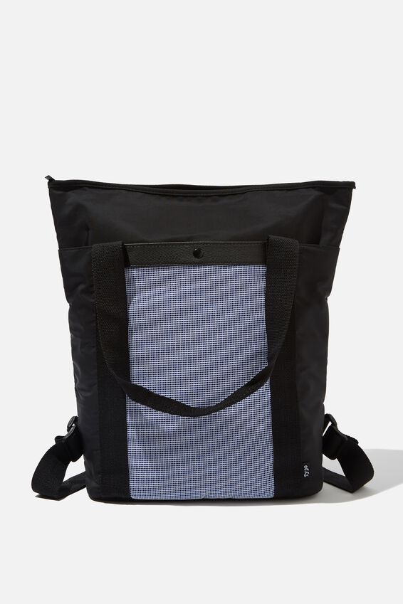 Uni Convertible Tote Bag, BLACK & BLUE