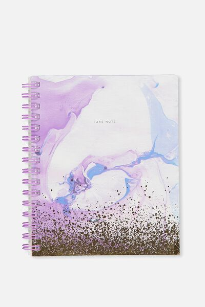 A5 Campus Notebook, PURPLE MARBLE SPLATTER