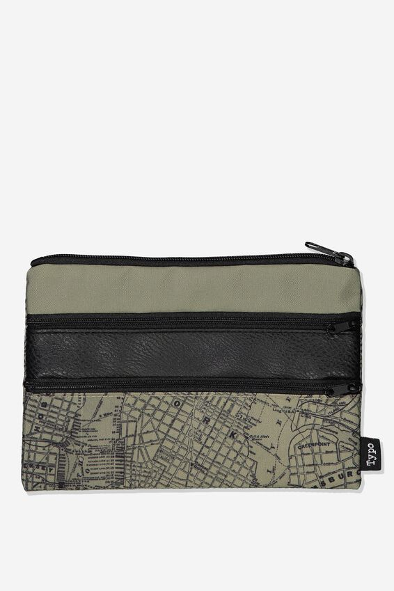 Double Archer Pencil Case, KHAKI MAP & TAN COMBO