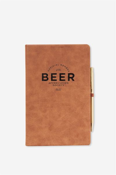 Boxed A5 Premium Activity Journal, RICH TAN BEER!