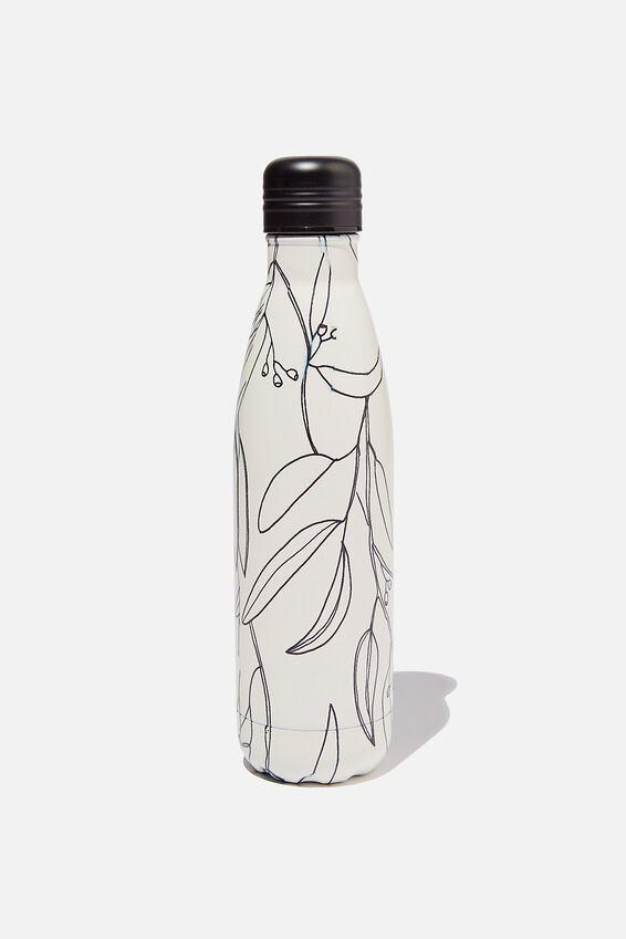 Metal Drink Bottle, GUMNUT LEAVES