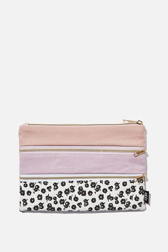 Double Archer Pencil Case, BW DOLLY DAISY