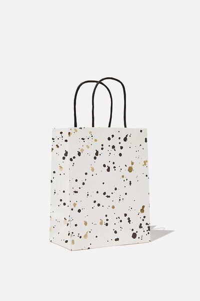 Get Stuffed Gift Bag - Small, WHITE GOLD SPLATTER