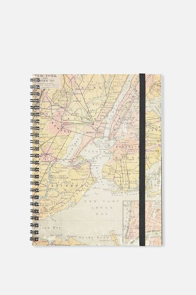 A5 Spinout Notebook - 120 Pages, NEW YORK LOWER BAY MAP