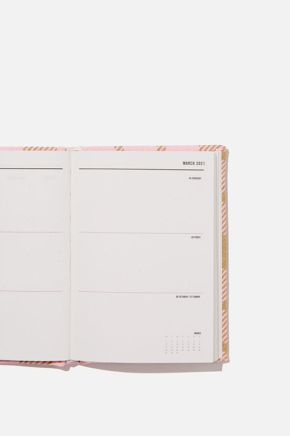 2021 A6 Oxford Weekly Diary, RETRO CHECK PLASTIC PINK