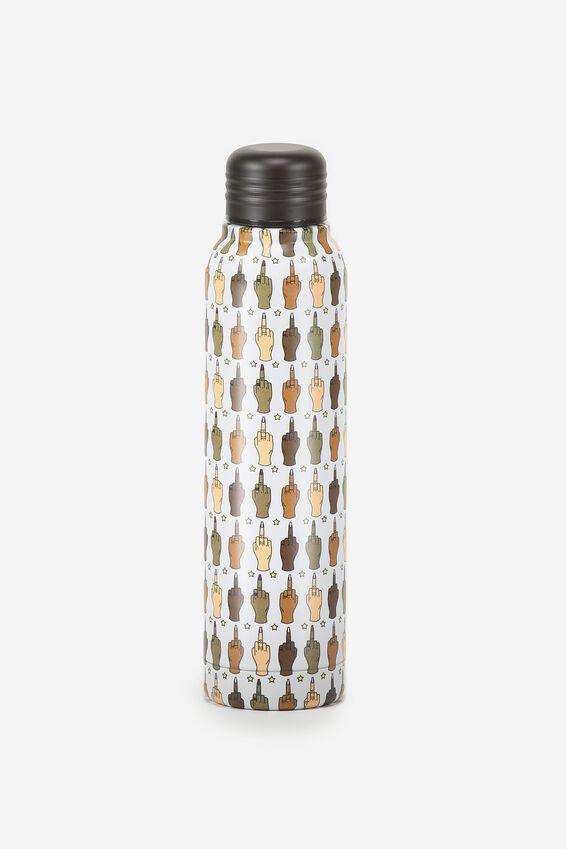Small Metal Drink Bottle, RUDE FINGERS!
