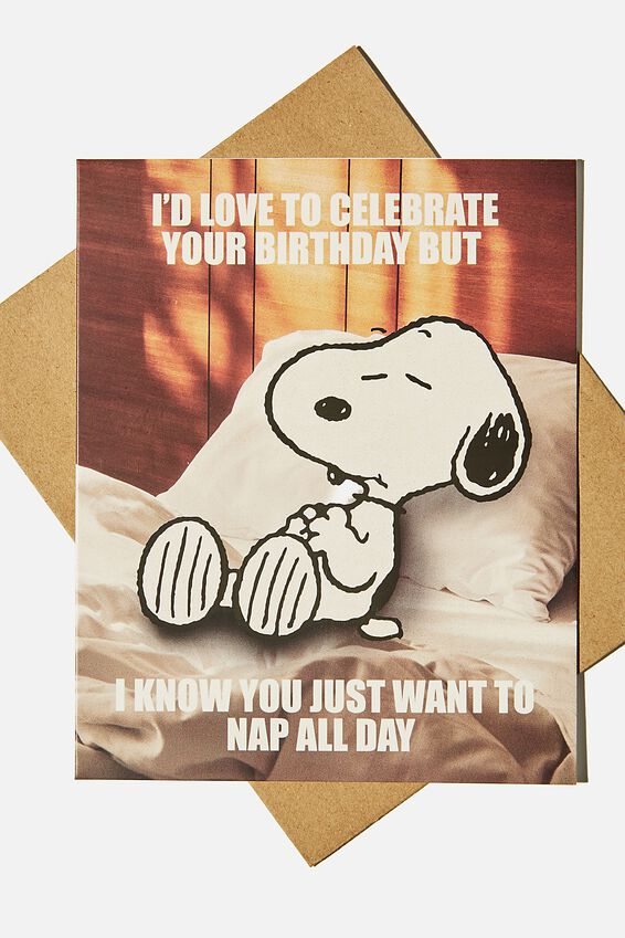 Snoopy Funny Birthday Card, LCN PEA SNOOPY LETS GO OUT TONIGHT