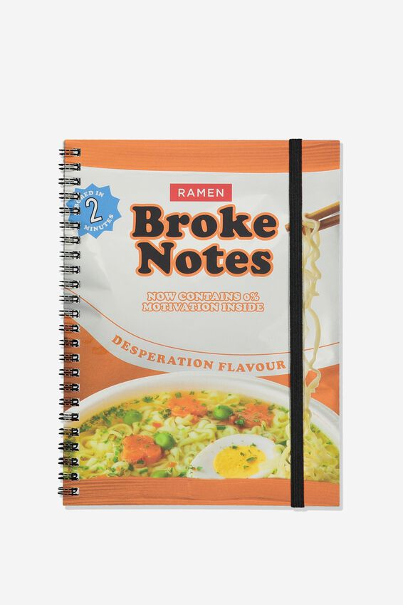 A5 Spinout Notebook Recycled, BROKE NOTES NOODLES