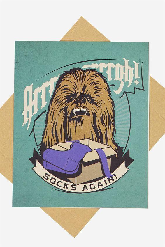 Star Wars Funny Birthday Card, LCN CHEWIE SOCKS