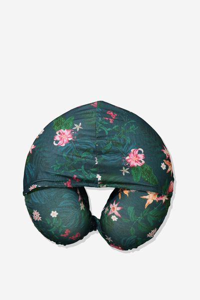 Travel Neck Pillow with Hood, JUNGLE FLORAL