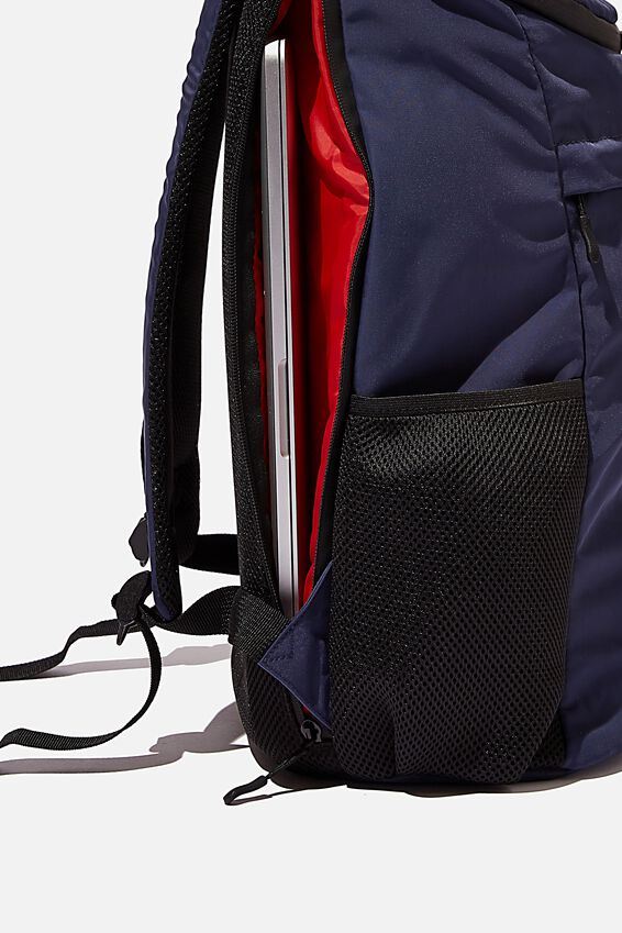 Utility Recycled Backpack, NAVY AND RED