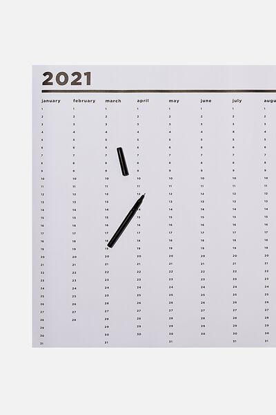 2021 A1 Year Planner Roll, WHITE