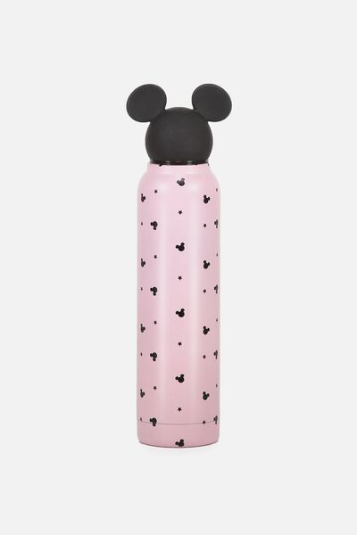 Premium Small Metal Drink Bottle, LCN MICKEY TOPPER BLUSH PRINT