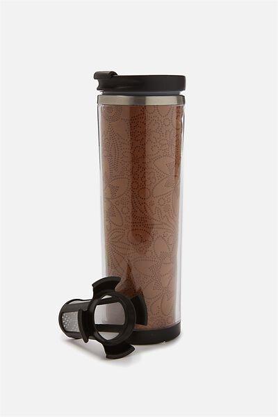 Tea-Riffic Travel Mug, ETCHED PU