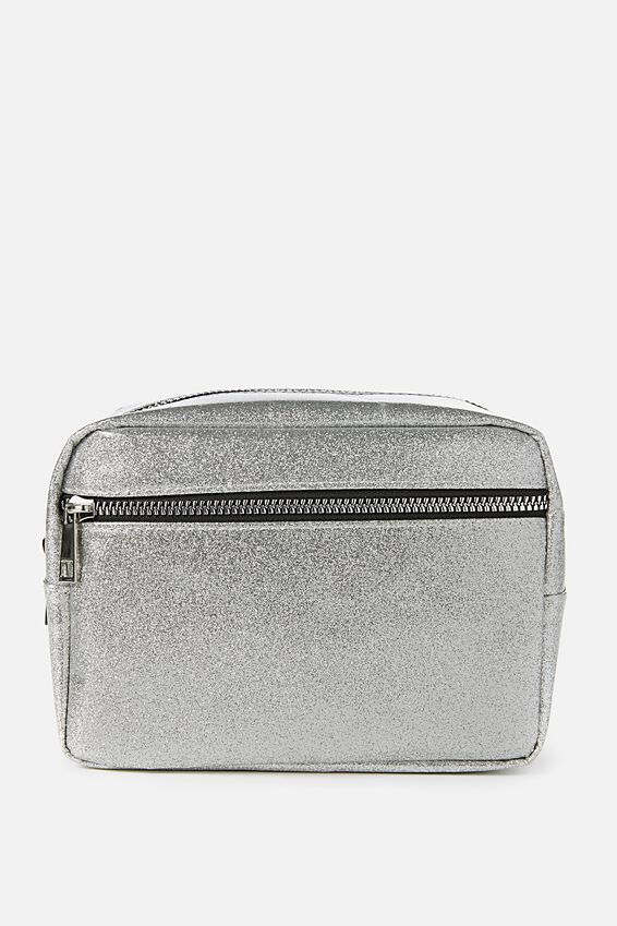 Multi Zip Cosmetic Case, SILVER  GLITTER