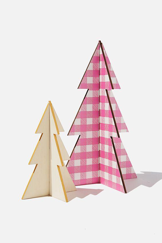 Wooden Mini Christmas Tree Pack, PINK GINGHAM & MUSTARD