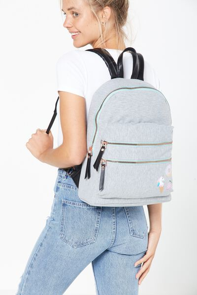 Berlin Backpack, GREY MARLE PATCHES