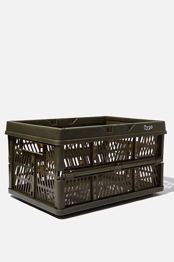 Large Foldable Storage Crate, OILSKIN