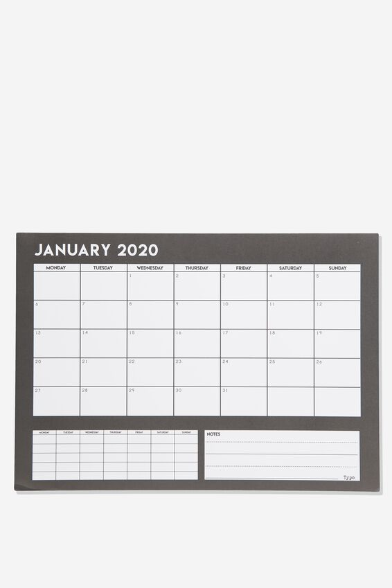 2020 A3 Plan Ahead Planner, BLACK