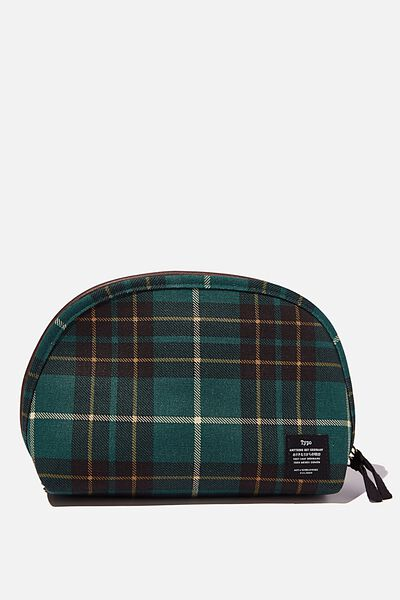 Canvas PU Essential Pouch, FLANNO GREEN CHECK WITH BITTER CHOC
