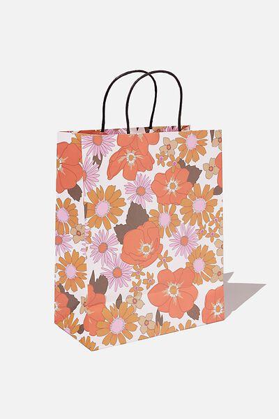 Get Stuffed Gift Bag - Medium, PINK ORANGE STEVIE FLORAL