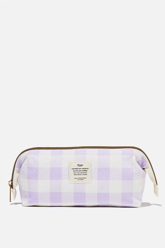 Billie Pencil Case, GINGHAM PALE LILAC