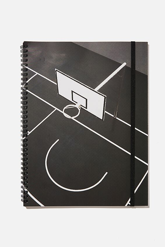 A4 Spinout Notebook Recycled, BASKETBALL COURT MONO
