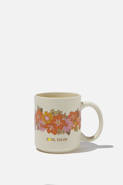 Daily Mug, BITCH PLEASE FLORAL ORANGE AND PINK!