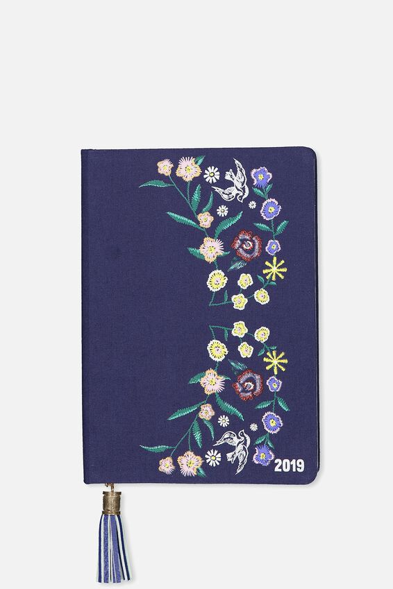 2019 Fabric Diary, DARK BLUE BOHO EMBROIDERY