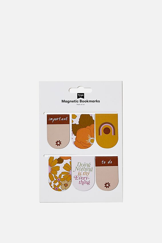 6Pk Magnetic Bookmark, RUST, MUSTARD & PINK
