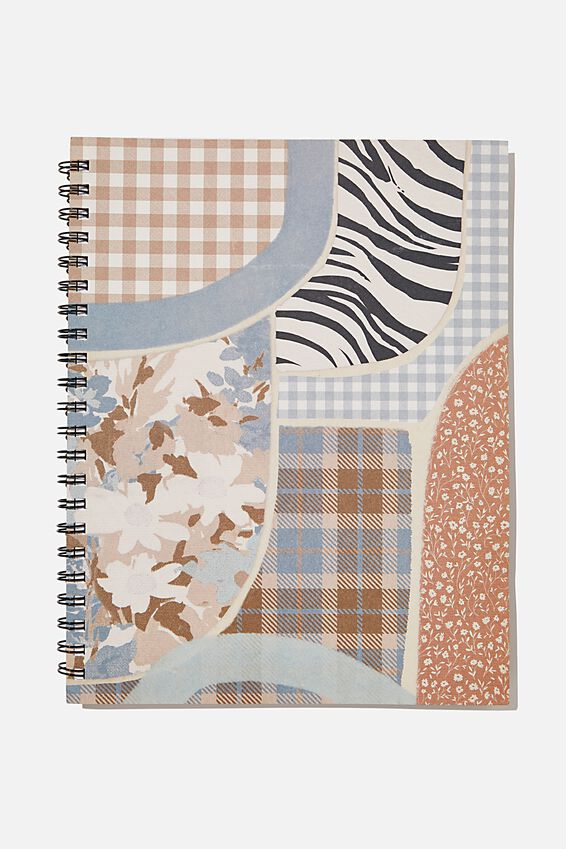 A4 Campus Notebook Recycled, GINGHAM FLORAL ZEBRA PATCHES