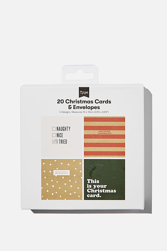 Christmas Card 20 Pack 2020, TRADITIONAL RED GREEN
