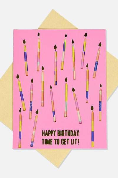 Premium Funny Birthday Card, GET LIT CANDLES