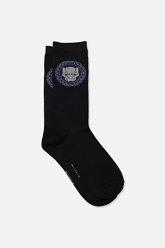 Marvel Mens Novelty Socks, LCN MARVEL BLACK PANTHER LOGO