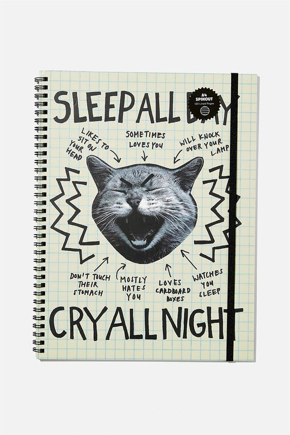 A4 Spinout Notebook Recycled, SLEEP ALL DAY