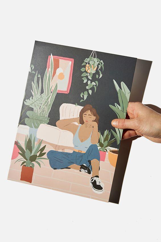 Large Fashion Card, GIRL CHILL PLANT ILLUSTRATION