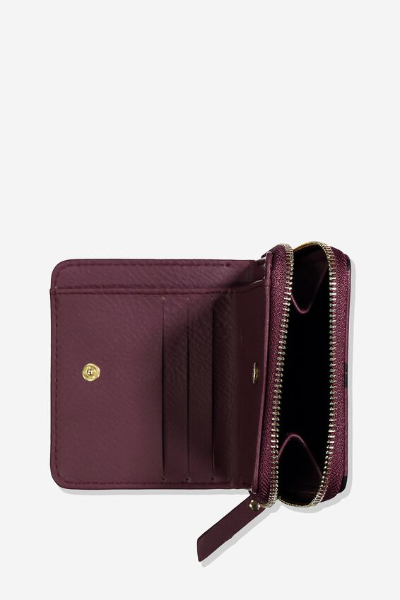 Mini Wallet, BURGUNDY LEOPARD