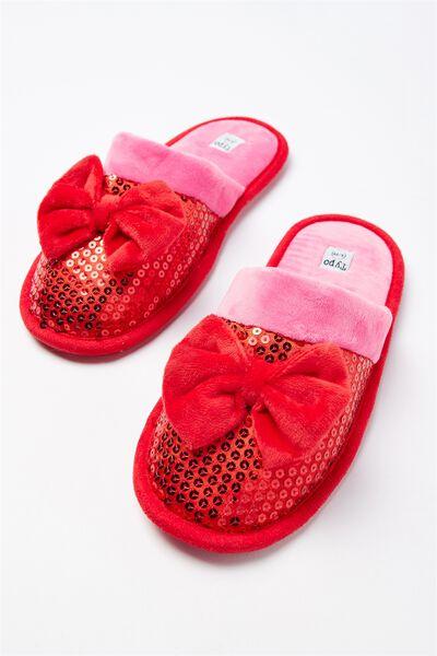 Slippers, GLITTER BOW