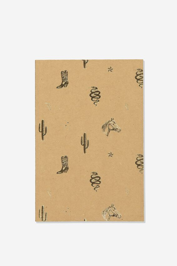 A5 Textured Notebook, PINK GOLD BOOTS