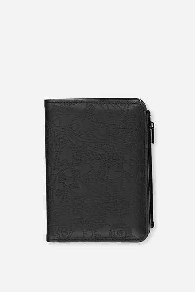 Classic Passport Holder, BLACK FLORAL PERF
