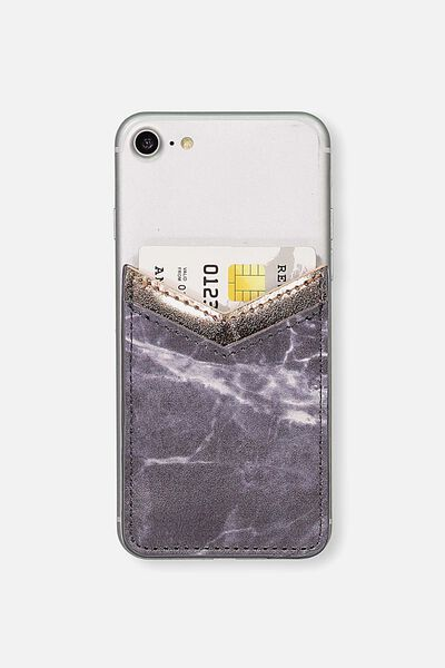 Phone Card Holder Sticker, BLACK MARBLE